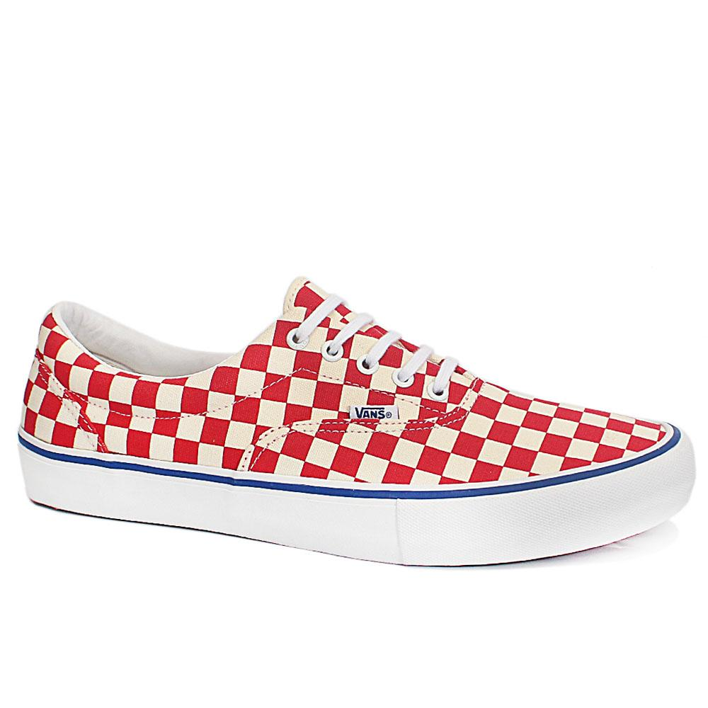 Checkboard Red Fabric Sneakers