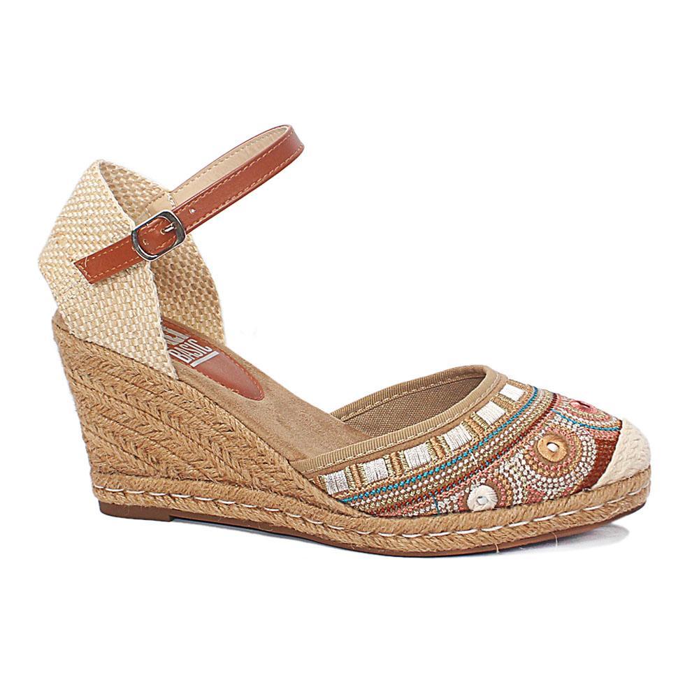 Xti Cream Brown Caribbean Mix Threading Woven Wedge Sandals
