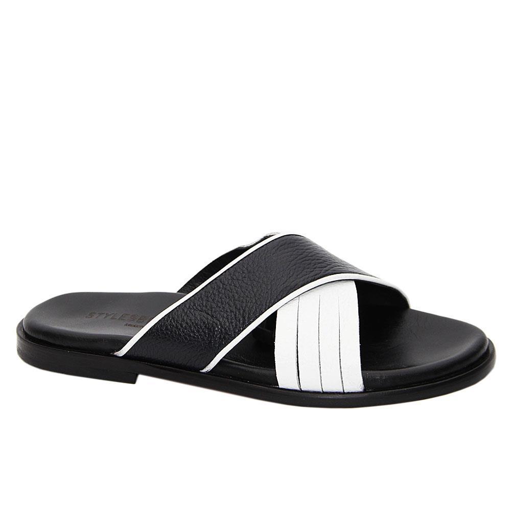 Black White Lorenzo Crossover Italian Leather Slippers