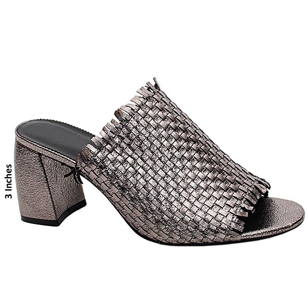 Metallic Grey Imelda Woven High Heel Mule