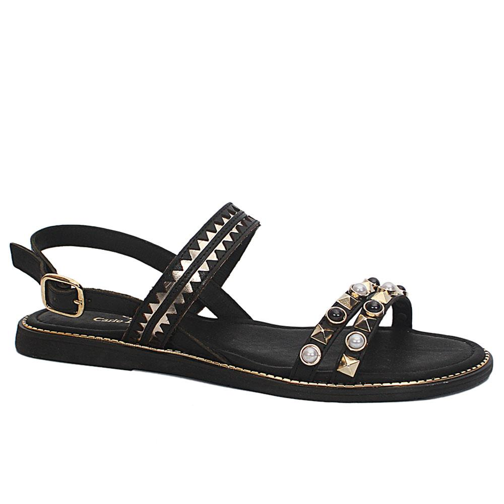 Black Roxanne Leather Flat Sandals