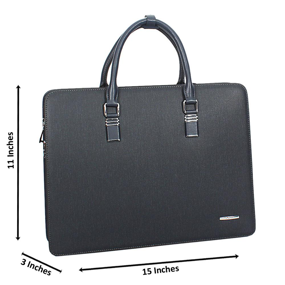 Navy Cowhide Leather Briefcase