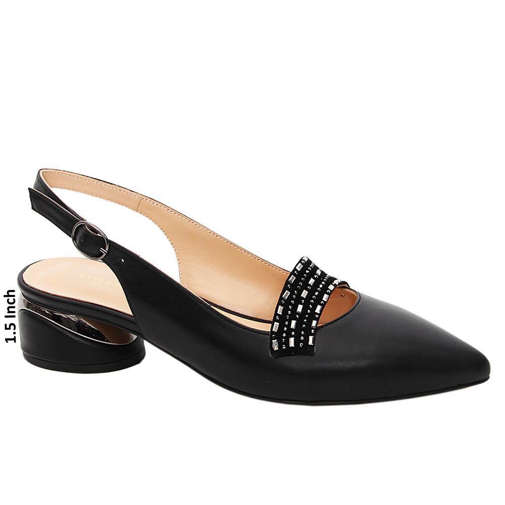 Black Josefina Studded Tuscany Leather Mid Heel Slingback Pumps