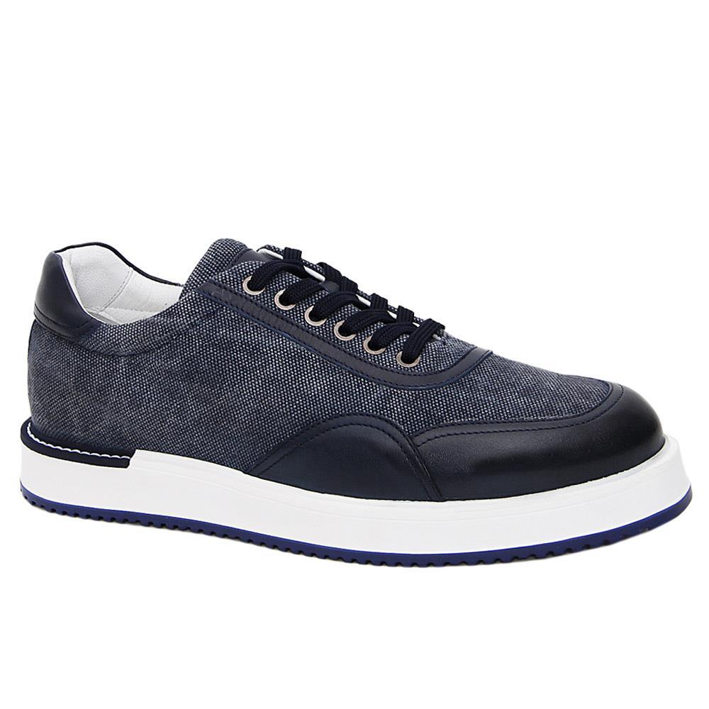 Navy Harry Denim Mix Italian Leather Sneakers