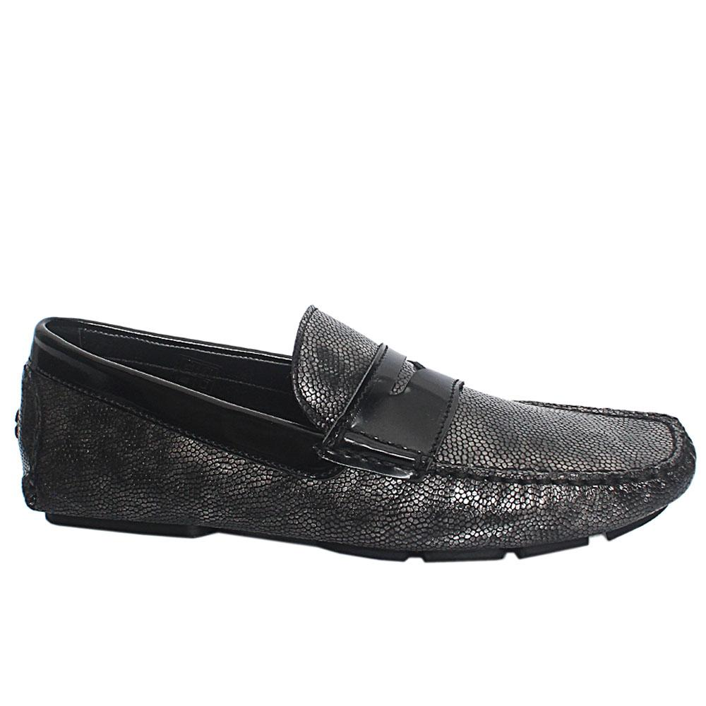 Metallic Gray Italian Leather Drivers Shoes