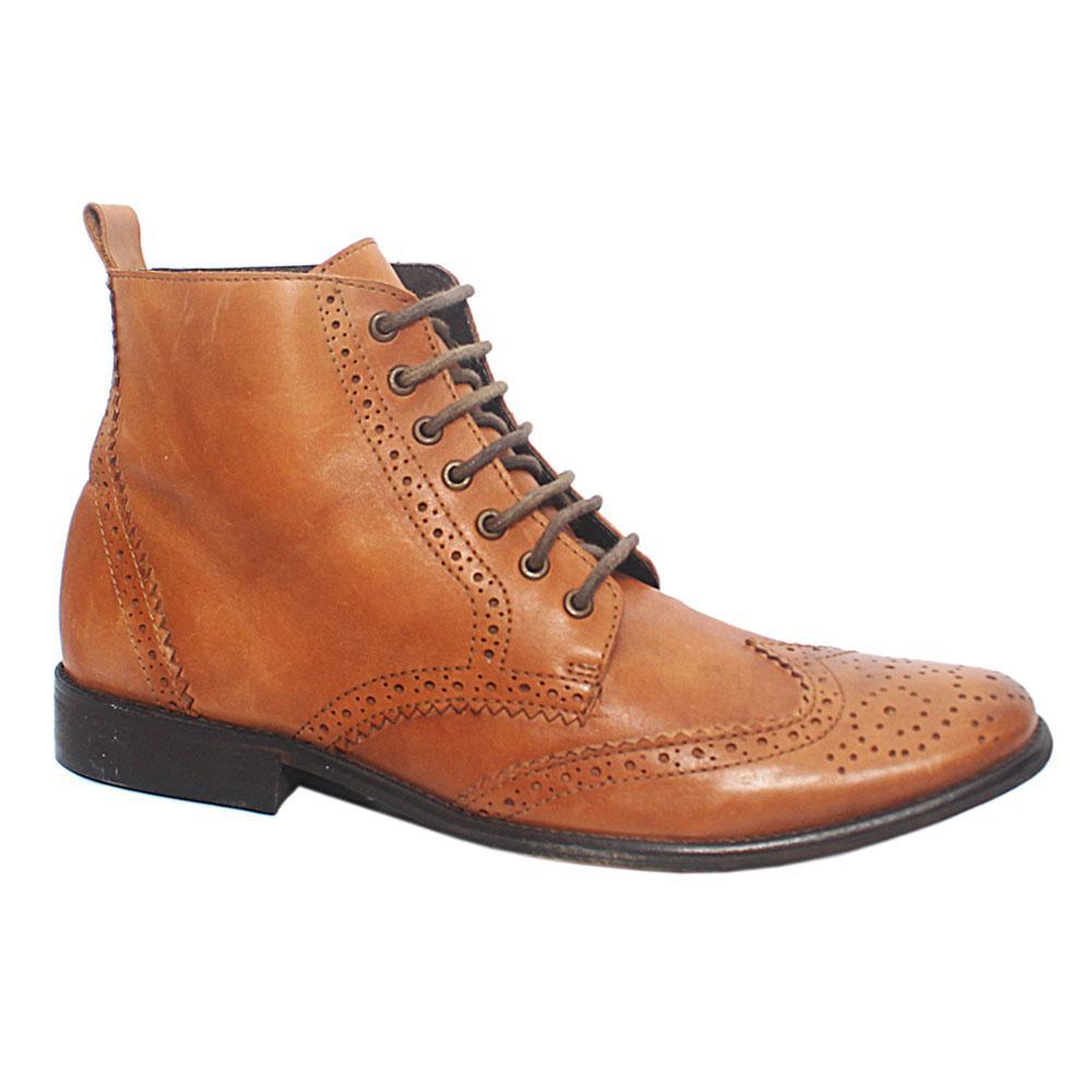 Sz 43 Brown Leather Men Brogue Boot