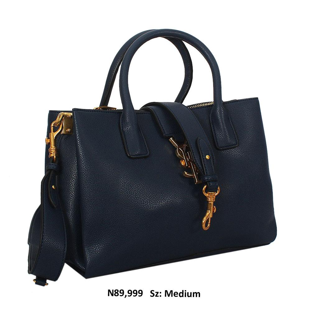 Agnes Aly Navy Saffiano Leather Tote Handbag