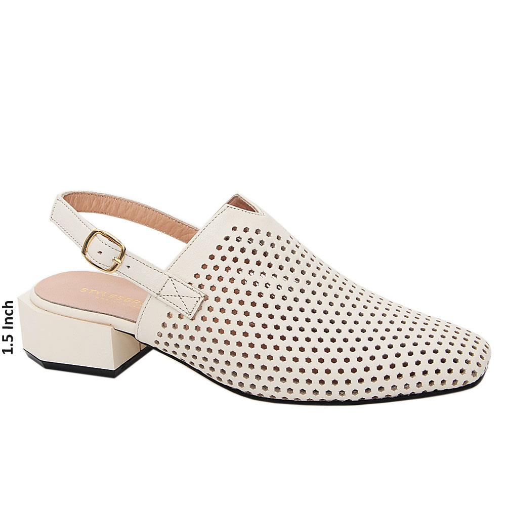 Cream Mira Tuscany Leather Low Heel Breathable Slingback Pumps