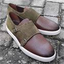 Brown Zanobi Italian Suede Leather Monk Strap Sneakers