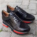 Black Giorgio Croco Suede Italian Leather Sneakers