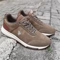 Khaki Heck Suede Leather Sneakers