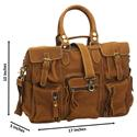 Tan Brown Cowhide Leather Travel Bag