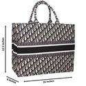 Raya Navy Off-White Woven Fabric Large Tote Handbag