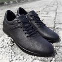 Black Breathable Leather Sneakers