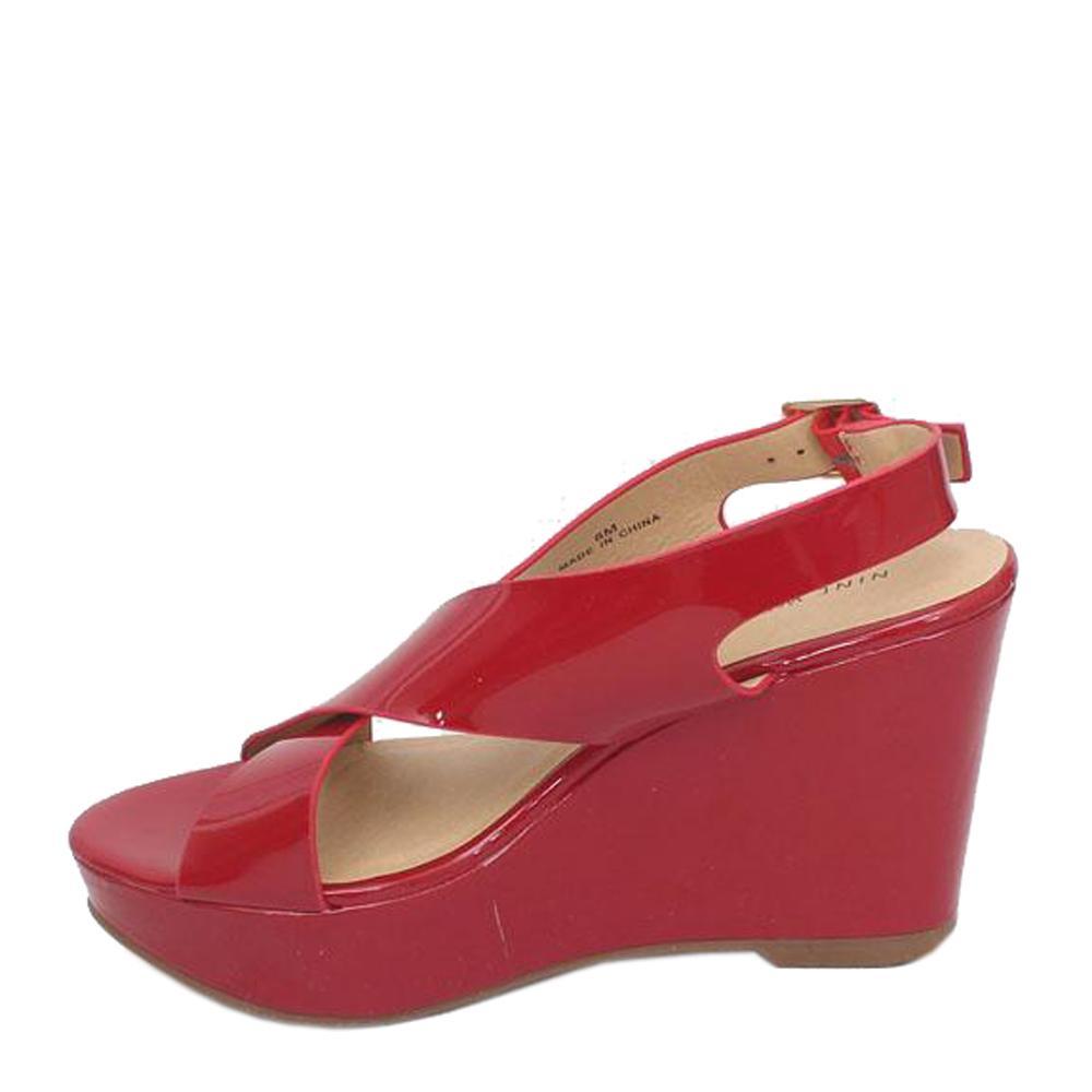 55b188e6fddc Buy Nine-West-Red-Leather-Wedge-Sandal - The Bag Shop Nigeria