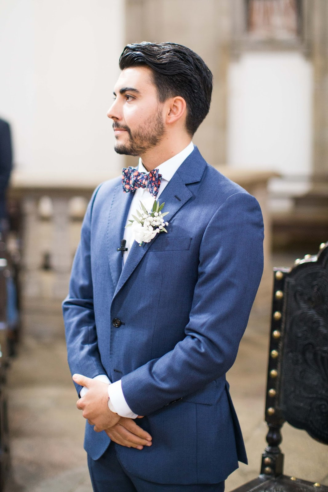 Groom wearing Blue suit Hawes and Curtis and Mrs Bow Tie