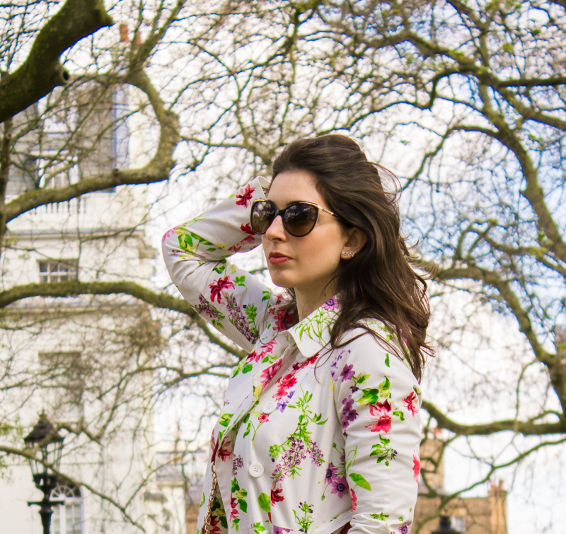 Flower Trench Coat & Pink Loafers | Look
