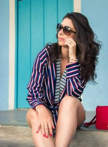 STRIPED BODYSUIT WITH Denim Shorts | Look