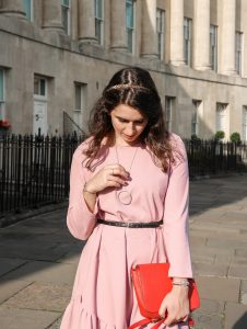 Pink Dress and red bag