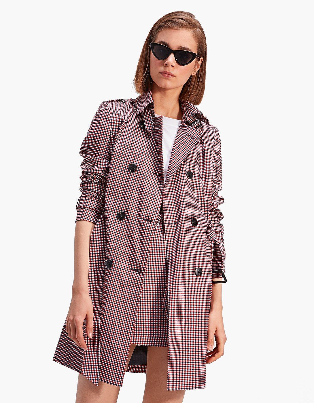 Stradivarius Checked Trenchcoat