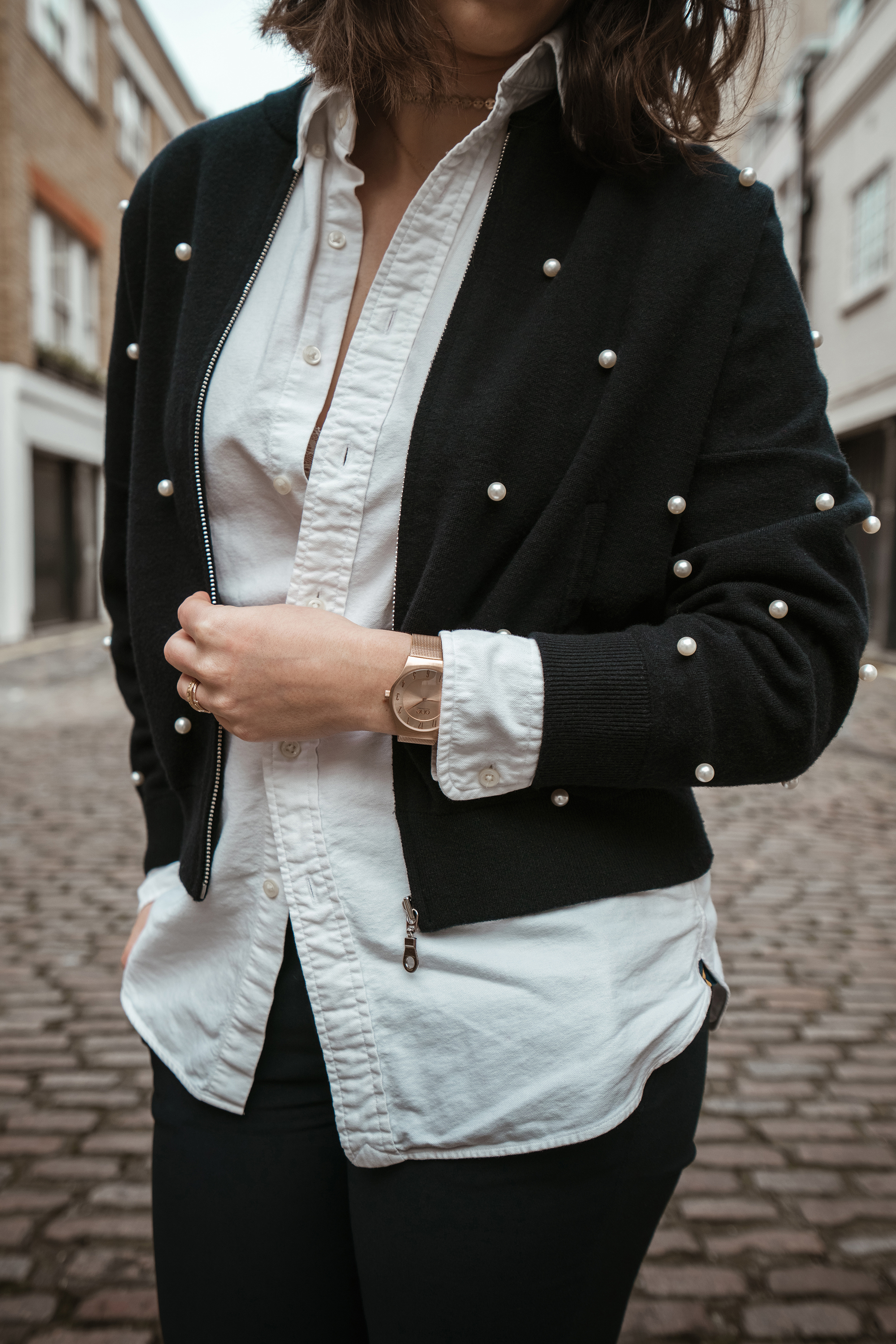 White shirt and Bomber jacket Look