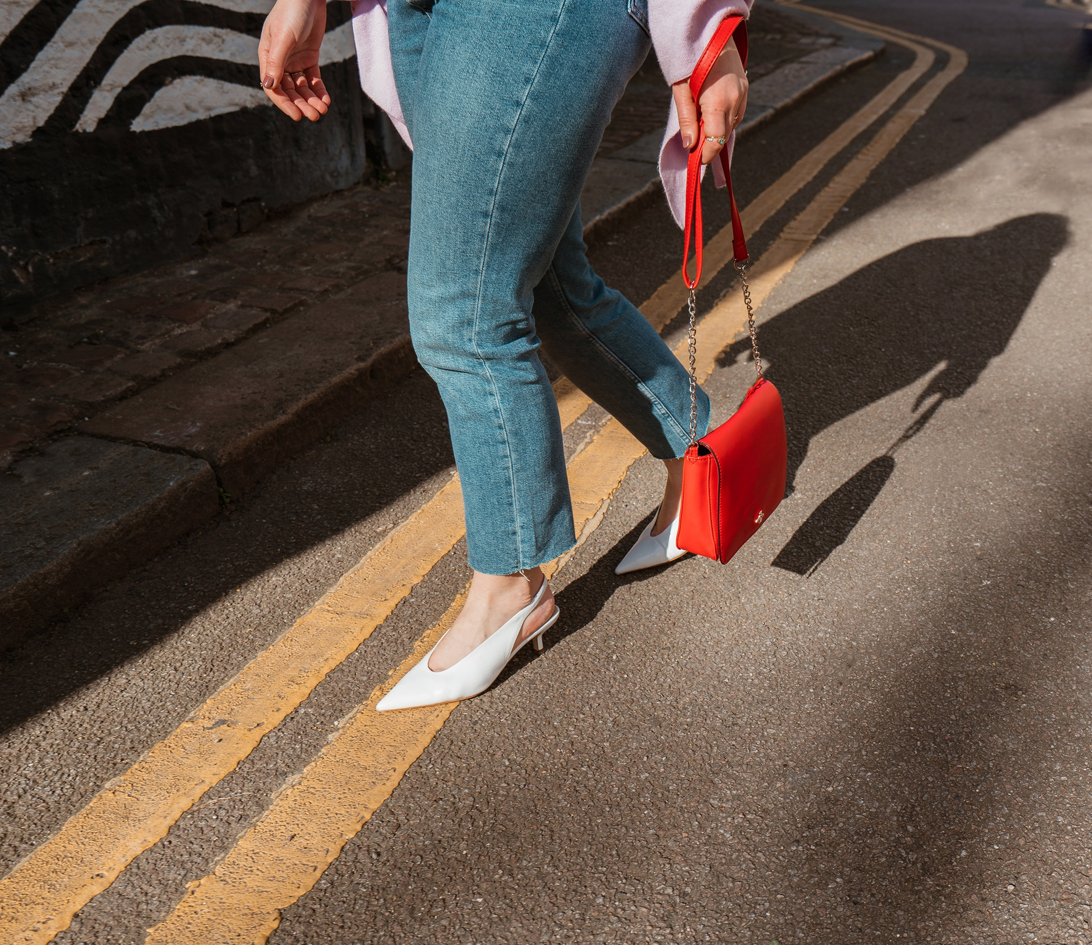 Topshop Jeans with white slingbacks