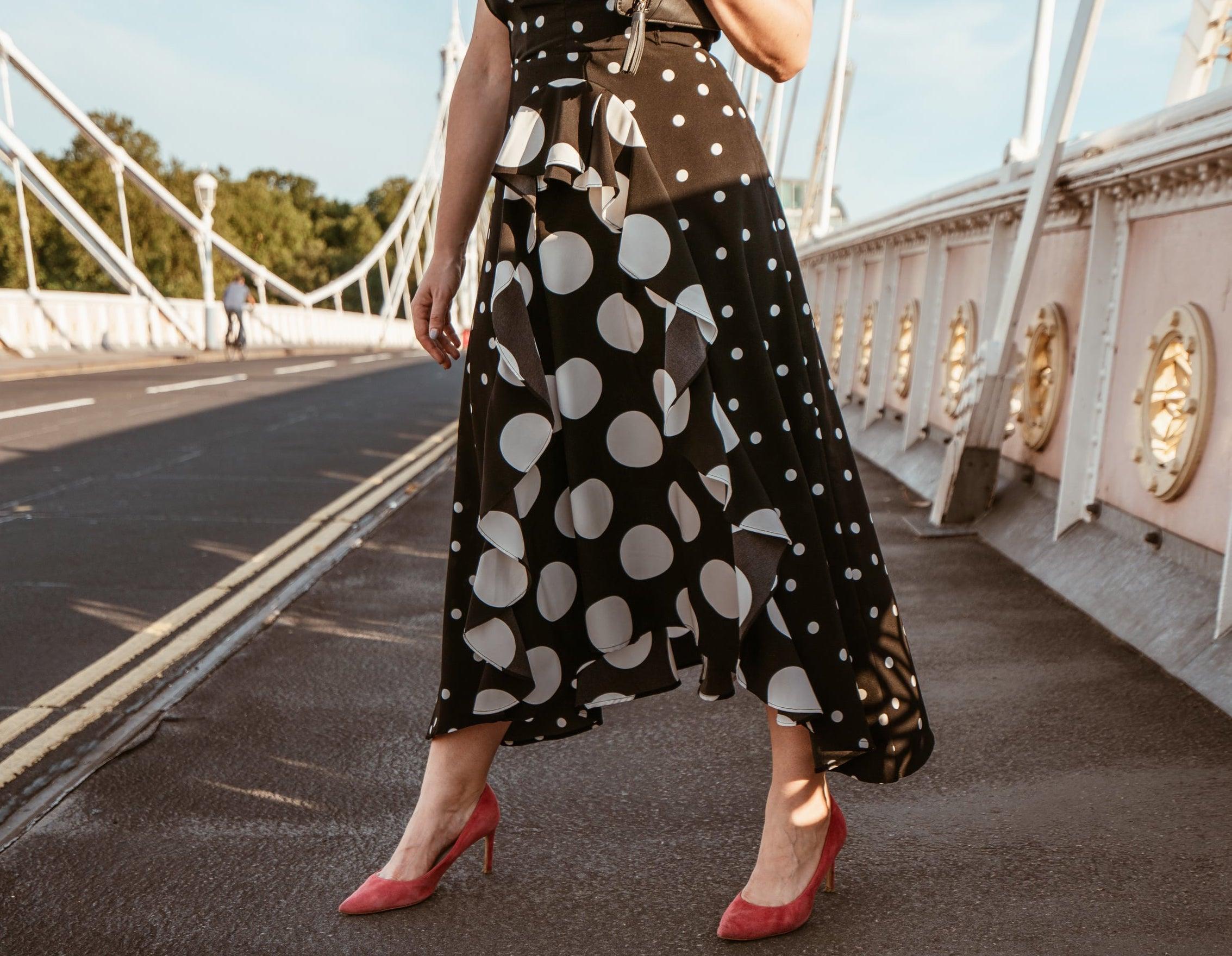 Marisa Oliveira from Arara Pintada wears Polka Dot Dress skirt detail Topshop