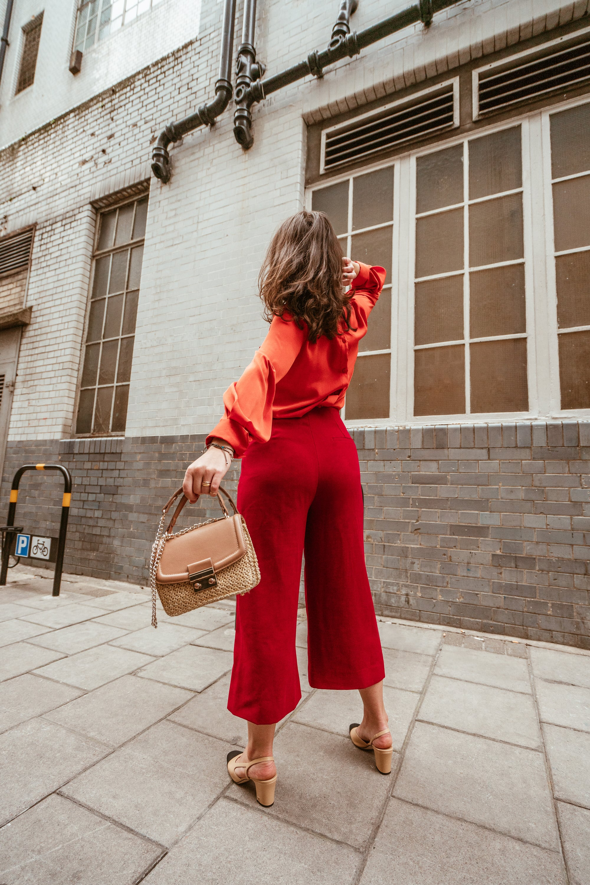 Red culottes with Orange Silk Blouse styled but Arara Pintada