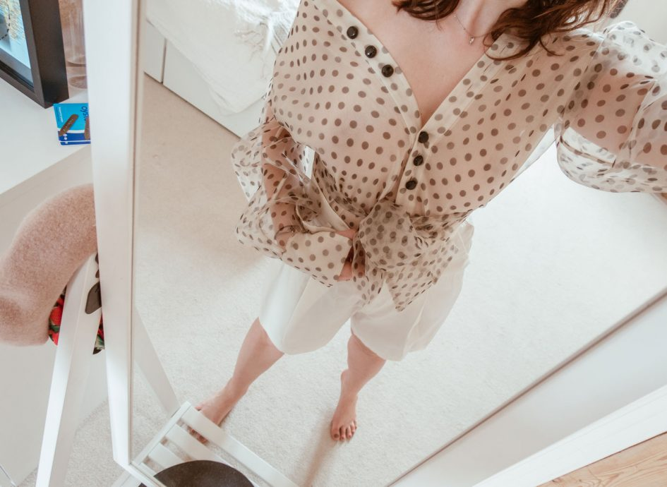 Polka dot sheer Zara Shirt with high waist white shorts