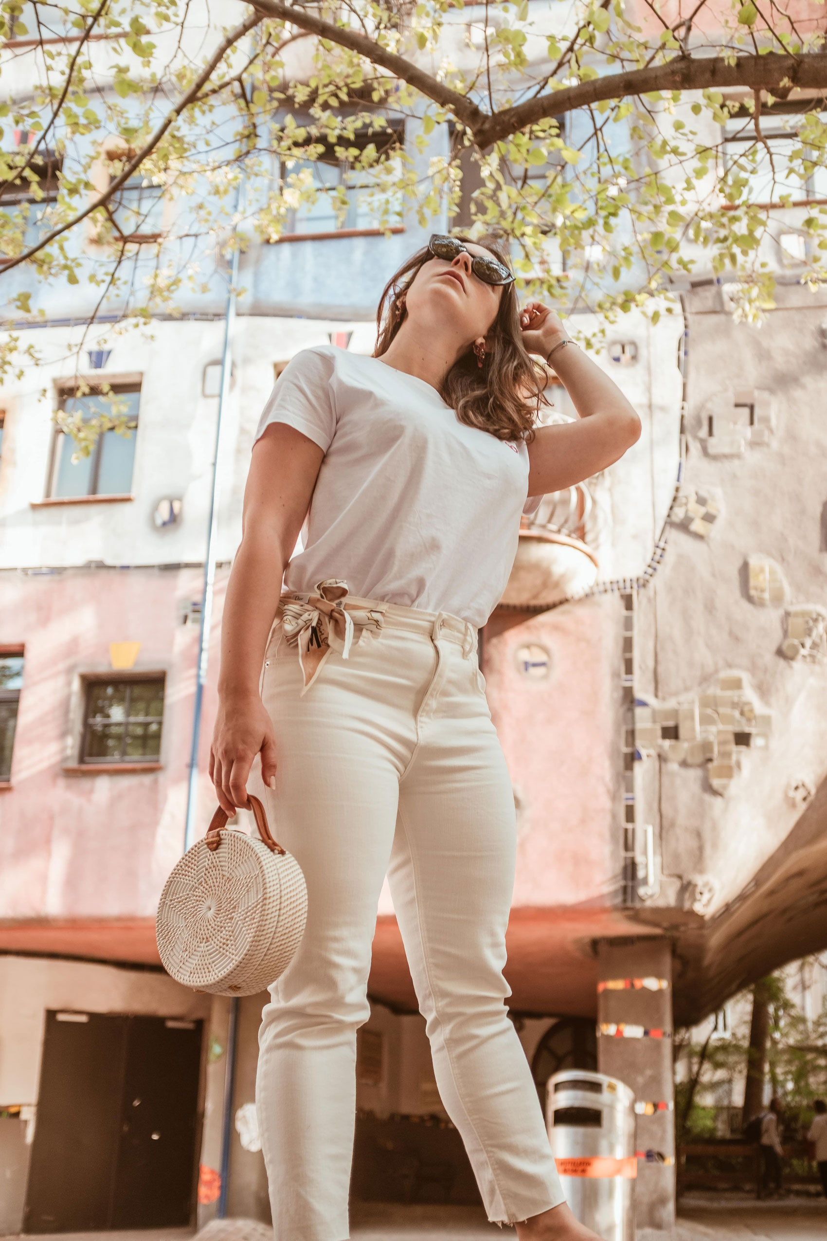 White look with Straw bag by Arara Pintada for Vienna Capsule Wardrobe