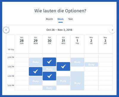 Auswahl der verschiedenen Optionen in Ihrem Kalender oder als freier Text