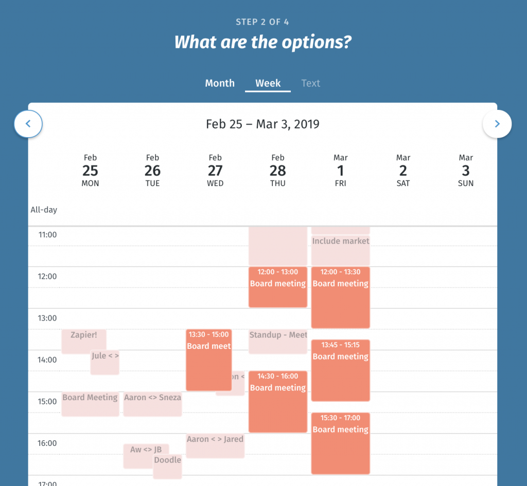 Meeting scheduling software step 2