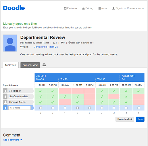 organise your work schedule with doodle