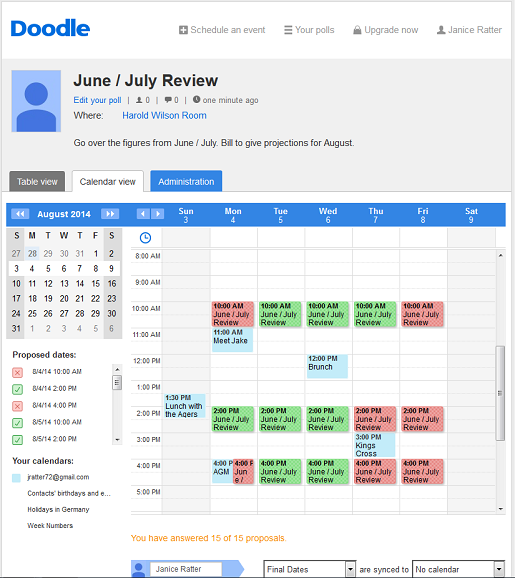 Free work scheduler on Doodle.com but the calendar view is available with the premium account