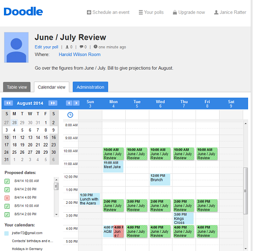 Doodle can show you when you are or are not available according to your calendar