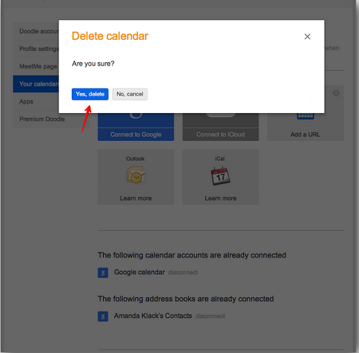 Confirm you want to delete a calendar