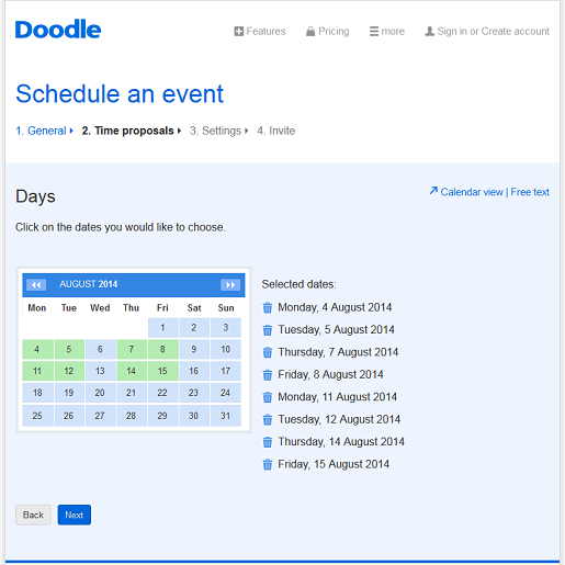 Select dates for your event