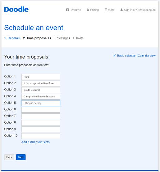 Make free online surveys with Doodle