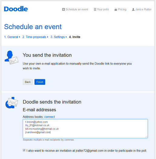 free online survey from doodle
