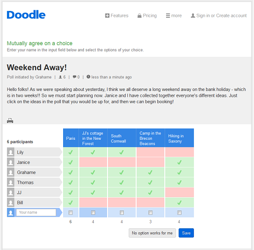Make free online surveys with Doodle today!