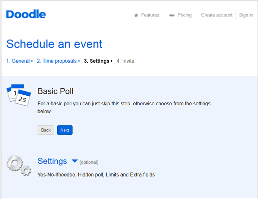 Select a basic poll or additional settings