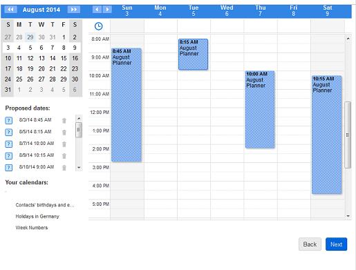 Online calendar view