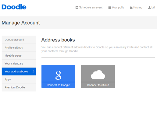 Connect your online address book with Doodle