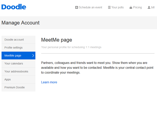 Connect your social networks with Doodle's MeetMe page