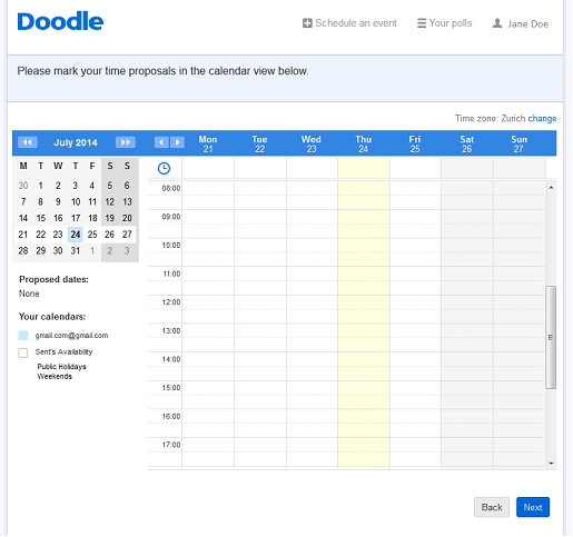 Calendar view with the Doodle premium account
