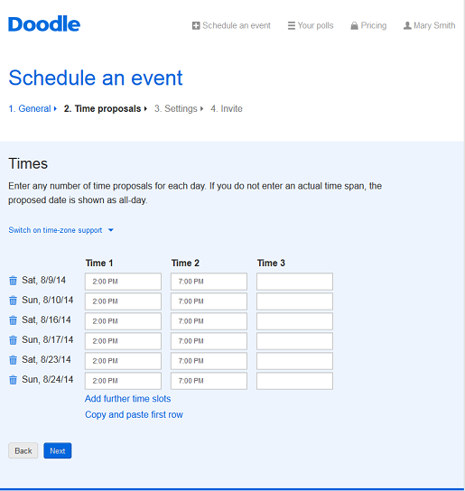 Free online poll with Doodle.com