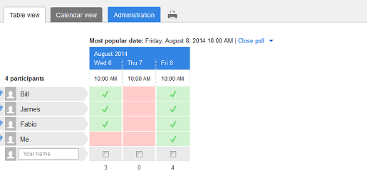 Free online scheduling with Doodle: step 3