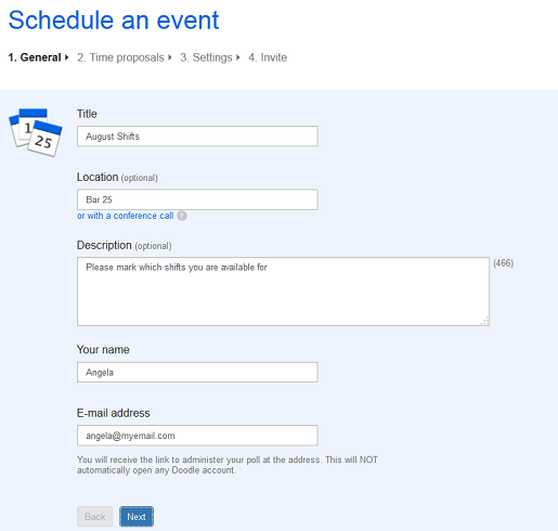 Free schedule maker on Doodle.com Step 1 of making a schedule