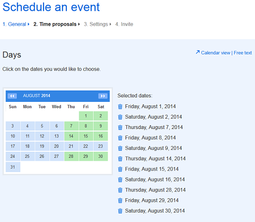 Free schedule maker on Doodle.com Step 2 of making a schedule