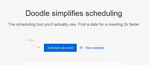 Doodle survey software main page screenshot